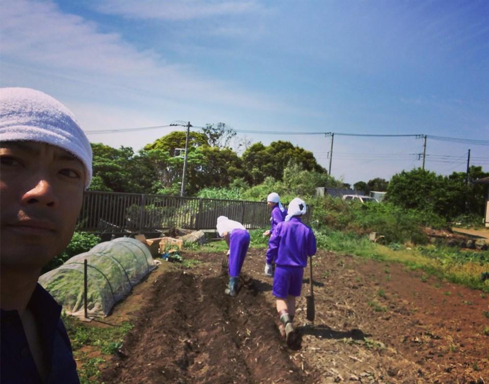 民泊で来ている学生の皆さんと農業体験!